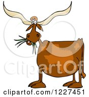 Clipart Of A Texas Longhorn Cow Eating Grass Royalty Free Vector Illustration