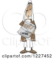 Clipart Of An Arab Man Hugging A Crude Oil Barrel Royalty Free Vector Illustration