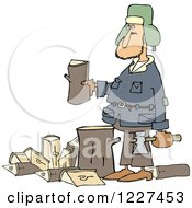 Clipart Of A Caucasian Man Splitting Wood Royalty Free Vector Illustration