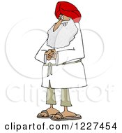 Clipart Of A Happy Sikh With Clasped Hands Royalty Free Vector Illustration by djart