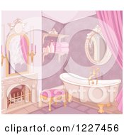 Clipart Of A Luxurious Pink Castle Bathroom Royalty Free Vector Illustration
