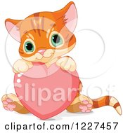 Clipart Of A Cute Tabby Ginger Kitten Sitting With A Valentine Heart Royalty Free Vector Illustration