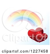 Clipart Of A Rainbow With Hearts In A Gradient Sky Royalty Free Vector Illustration