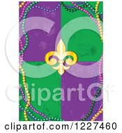 Clipart Of A Mardi Gras Background Of Distressed Tiles A Fleur De Lis And Beads Royalty Free Vector Illustration