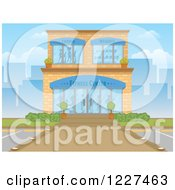 Clipart Of A Gym Fitness Center Building Exterior In A City Royalty Free Vector Illustration