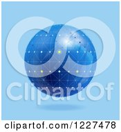 Clipart Of A 3d Floating Blue Network Globe Royalty Free Vector Illustration by elaineitalia