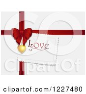 Clipart Of A Love Tag With A Red Valentines Day Gift Bow And Ribbon On Shaded White Royalty Free Vector Illustration