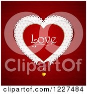 Clipart Of A Love Valentines Day Doily Heart And Pendant Over Red Royalty Free Vector Illustration