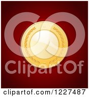 Clipart Of A Golden Medal On Read Leather Royalty Free Vector Illustration