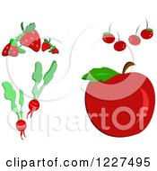 Strawberries Cherries Radishes And A Red Apple