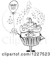 Black And White Cupcake With A Baby Boy Balloon