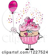 Clipart Of A Pink Cupcake With A Baby Girl Balloon Royalty Free Vector Illustration by Dennis Holmes Designs