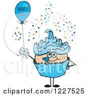 Blue Cupcake With A Baby Boy Balloon