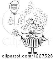 Black And White Cupcake With A Baby Girl Balloon