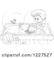 Clipart Of An Outlined Bird Watching A Boy Play In A Sand Box Royalty Free Vector Illustration