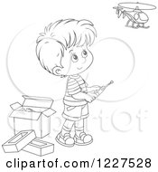 Clipart Of An Outlined Boy Playing With A Remote Controlled Helicopter Royalty Free Vector Illustration