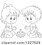 Clipart Of An Outlined Boy And Girl Playing With A Toy Top Royalty Free Vector Illustration