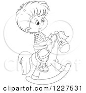 Clipart Of A Outlined Boy Playing On A Rocking Horse Royalty Free Vector Illustration