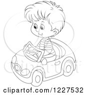 Clipart Of An Outlined Boy Playing In A Toy Car Royalty Free Vector Illustration by Alex Bannykh