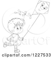 Clipart Of An Outlined Boy Flying A Kite Royalty Free Vector Illustration