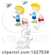 Clipart Of Outlined And Colored Boys Playing With Remote Controlled Helicopters Royalty Free Vector Illustration