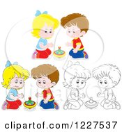 Clipart Of Outlined And Colored Boys And Girls Playing With Toy Tops Royalty Free Vector Illustration