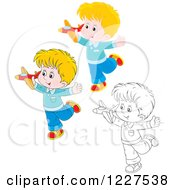 Clipart Of Outlined And Colored Boys Playing With Toy Planes Royalty Free Vector Illustration