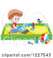 Clipart Of A Bird Watching A Caucasian Boy Play In A Sand Box Royalty Free Vector Illustration by Alex Bannykh