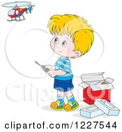 Clipart Of A Caucasian Boy Playing With A Remote Controlled Helicopter Royalty Free Vector Illustration by Alex Bannykh