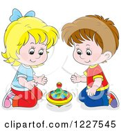 Clipart Of A Caucasian Boy And Girl Playing With A Toy Top Royalty Free Vector Illustration