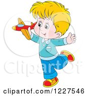 Clipart Of A Caucasian Boy Playing With A Toy Plane Royalty Free Vector Illustration by Alex Bannykh