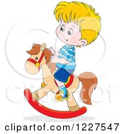 Clipart Of A Caucasian Boy Playing On A Rocking Horse Royalty Free Vector Illustration by Alex Bannykh