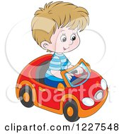 Clipart Of A Caucasian Boy Playing In A Toy Car Royalty Free Vector Illustration by Alex Bannykh