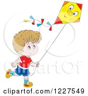 Clipart Of A Caucasian Boy Flying A Kite Royalty Free Vector Illustration by Alex Bannykh