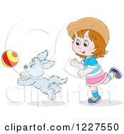 Clipart Of A Girl And Puppy Dog Playing With A Ball Royalty Free Vector Illustration by Alex Bannykh