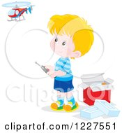 Clipart Of A Blond Boy Playing With A Remote Controlled Helicopter Royalty Free Vector Illustration