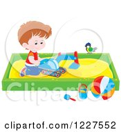 Clipart Of A Bird Watching A Boy Play In A Sand Box Royalty Free Vector Illustration by Alex Bannykh