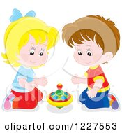 Clipart Of A Boy And Girl Playing With A Toy Top Royalty Free Vector Illustration