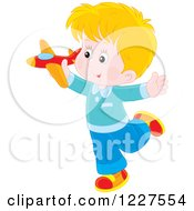 Clipart Of A Blond Boy Playing With A Toy Plane Royalty Free Vector Illustration by Alex Bannykh