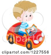 Clipart Of A White Boy Playing In A Toy Car Royalty Free Vector Illustration by Alex Bannykh