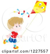 Clipart Of A White Boy Flying A Kite Royalty Free Vector Illustration