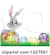 Clipart Of A Gray Bunny Holding Basket By Easter Eggs Royalty Free Vector Illustration by AtStockIllustration
