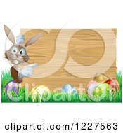 Clipart Of A Brown Bunny By A Wood Sign And Easter Eggs Royalty Free Vector Illustration by AtStockIllustration