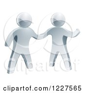 Clipart Of 3d Silver Men Shaking Hands Royalty Free Vector Illustration