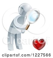 Clipart Of A 3d Silver Man Searching For Love Royalty Free Vector Illustration by AtStockIllustration