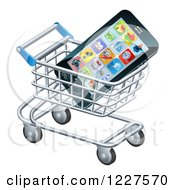 Clipart Of A Smartphone In A Shopping Cart Royalty Free Vector Illustration
