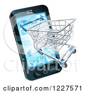 Clipart Of A Smartphone With A Shopping Cart Emerging From The Screen Royalty Free Vector Illustration