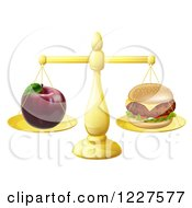 Clipart Of A Scale Balancing An Apple And Cheeseburger Royalty Free Vector Illustration by AtStockIllustration