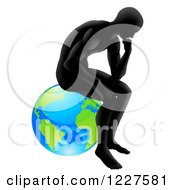Clipart Of A Gradient Black Silhouetted Man In Thought And Sitting On Earth Royalty Free Vector Illustration