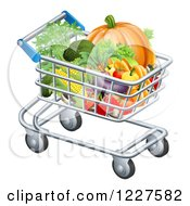 Clipart Of A Shopping Cart Full Of Healthy Produce Royalty Free Vector Illustration